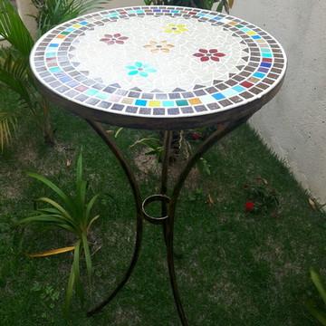 Mesa alta bistrô em mosaico color