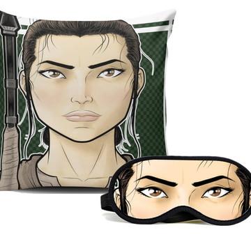 Capa de Almofada + Mascara para dormir Rey