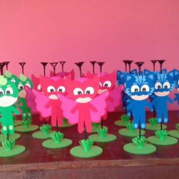 centro de mesa PJ Masks - heróis pijamas