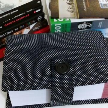 Capa para Livro em Tecido Poá Preto