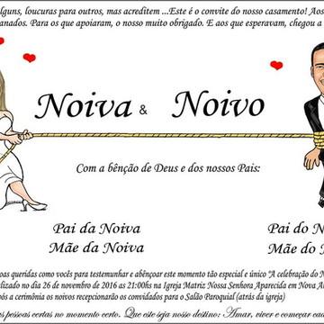 Convite com Caricatura Casamento Noivos GRÁTIS