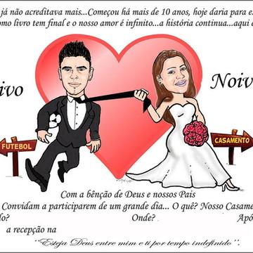 Convite de Casamento Caricatura dos Noivos GRÁTIS