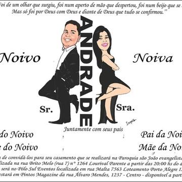 Convite Casamento com Caricatura Noivos GRÁTIS