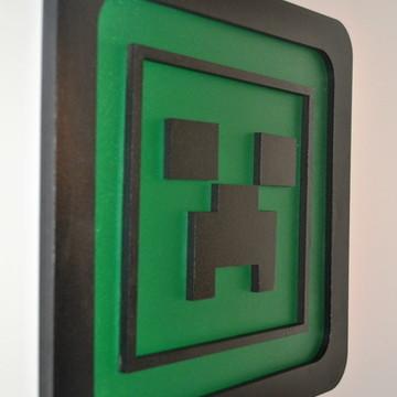 Quadro decorativo em alto relevo Minecraft