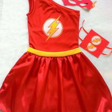 Vestido/Fantasia Flash Flecha + acessórios