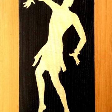 Quadro Em Marchetaria - Arte Africana - Homem Dançando - 05