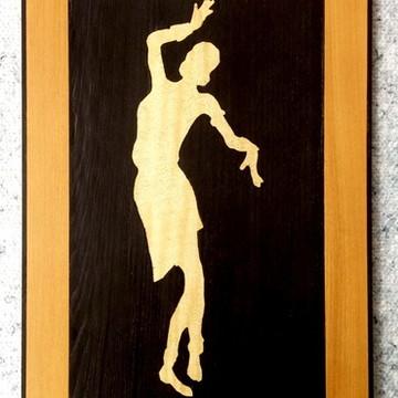 Quadro Em Marchetaria - Arte Africana - Mulher Dançando - 02