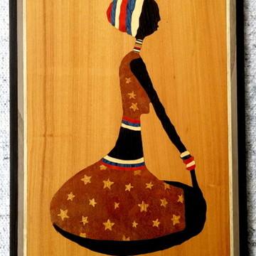 Quadro Em Marchetaria - Arte Africana - Mulher Pensando