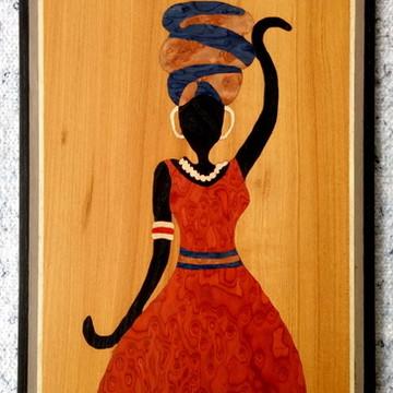 Quadro Em Marchetaria - Arte Africana - Mulher Elegante