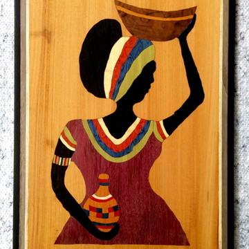 Quadro Em Marchetaria - Arte Africana - Mulher Com Travessa
