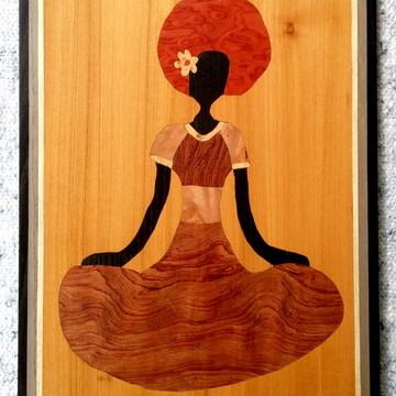 Quadro Em Marchetaria - Arte Africana - Mulher Em Meditação