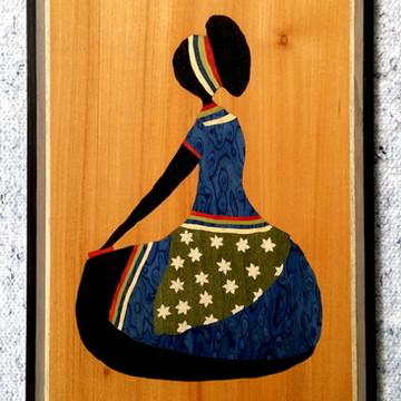 Quadro Em Marchetaria - Arte Africana - Mulher Meditando