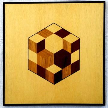 Quadro Em Marchetaria - Geométrico - Cubo Em 3d