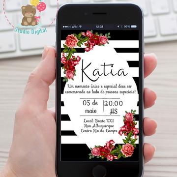 Convite floral vermelho com listra
