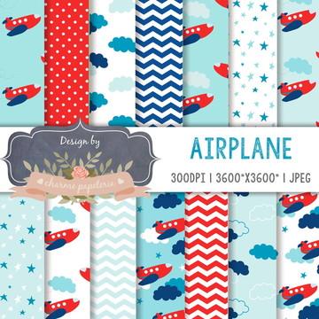 Papel Digital Aviãozinho | Kit avião | Kit aviõezinhos