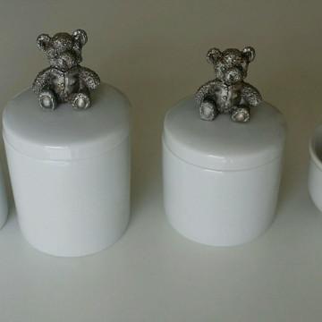 Potes porcelana com aplique urso