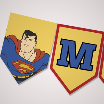 Kit digital bandeirolas para imprimir Super Homem