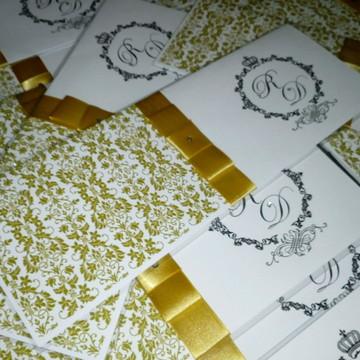 Convite de Casamento Reto Dourado