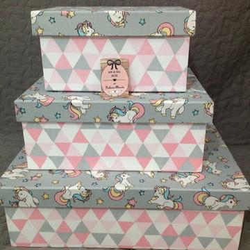 Trio de Caixas rosa com cinza (Unicórnio)