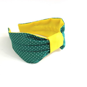 Tiara Tecido Verde/Amarela