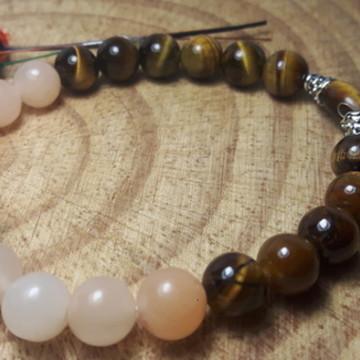 Pulseira Pedra Natural Olho de Tigre e Jade 8 MM