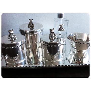 Kit higiene Ursinho prata com fios