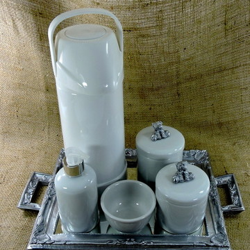 Kit Higiene com Garrafa Térmica - Ursinho Prata