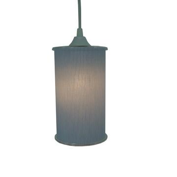 Luminária Pendente Cilíndrica Crie Casa Listra Azul e Branco