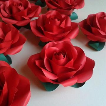 Kit 5 Mini Rosas de Papel | S/ Caule