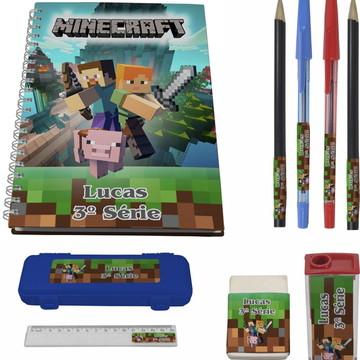 Kit Escolar + 1 Caderno - Minecraft