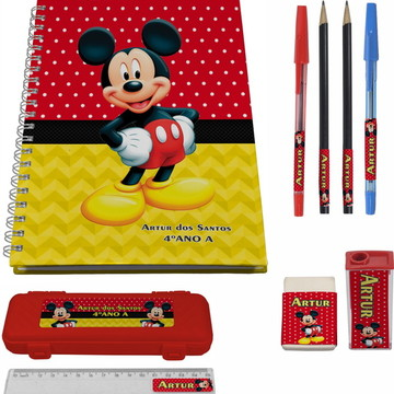 kit escolar 1 Caderno Mickey