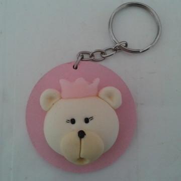 chaveiro de urso de biscuit
