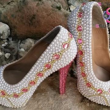 ceccddb295 Sapato perolado mesclado Rosa e Branco Cinderela (Noivas)