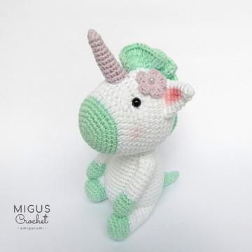 Unicornio de crochê (Verde)