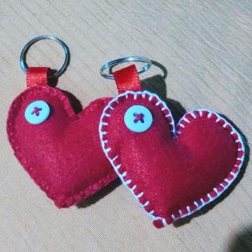 Chaveiro coração apaixonado em feltro