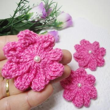 Aplique Flor Crochê Pink