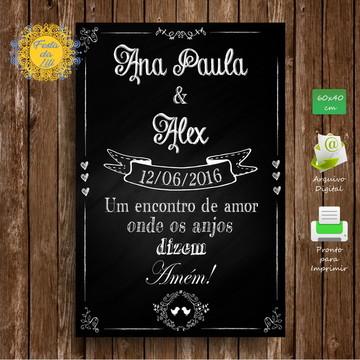 Placa de Casamento - Chalkboard