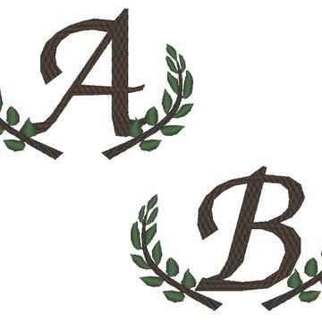 Matriz Bordado Alfabeto com ramos