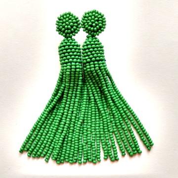 Brinco Tassel de Miçangas Verde