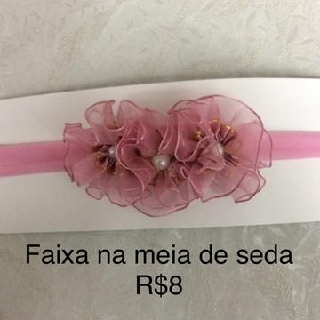Faixa de meia de seda com flores