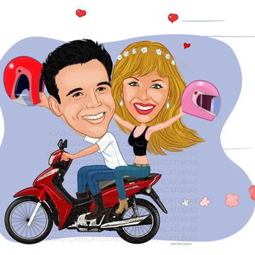 Caricatura de Aniversário Adulto Moto