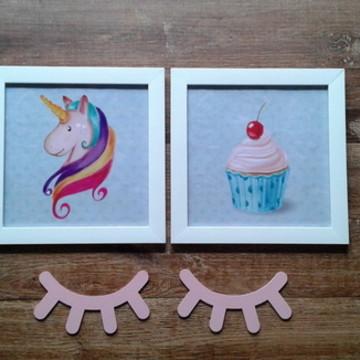 Quadro Unicórnio e cupcake + cílios mdf
