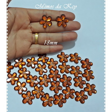 CHATON FLOR 18MM MARRON