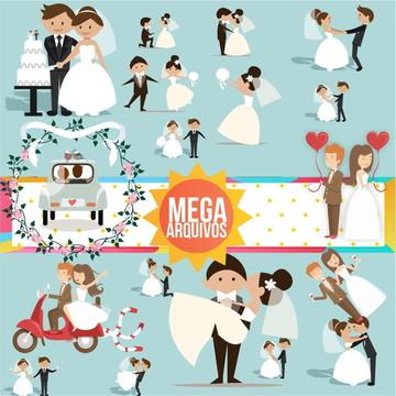 #2009 IMPERDÍVEL: Kit digital PNG - Noivinhos (casamento)