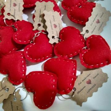 Corações feltro - chaveiro