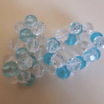 50 Porta Guardanapo em cristal transparente e azul turquesa