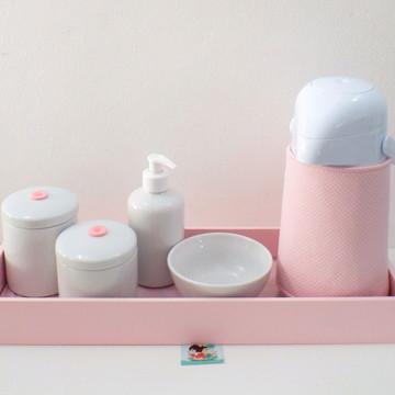 Kit Higiene Poá Rosa e Rosa BL45