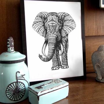 Quadro com moldura - Elefante