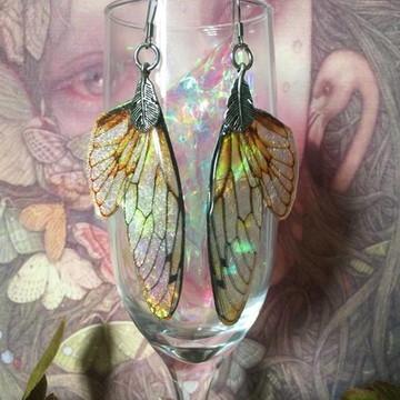 Brincos asas de borboleta fada em resina