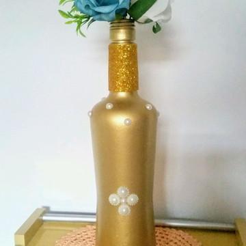 Garrafa decorada Luxo Dourado